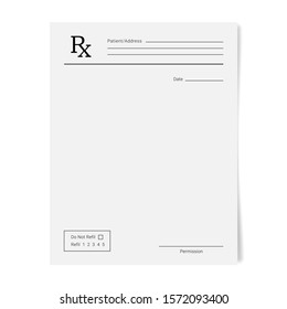Rx pad template. Medical regular prescription form