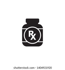 RX pill bottle linear icon. Medications. Medical prescription. Contour symbol. Thin line illustration. Vector isolated outline drawing. Editable stroke