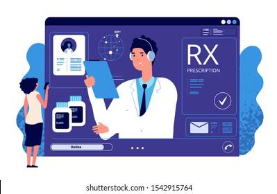 RX prescription online. Medical app, online prescription. Vector doctor, patient, painkiller medication