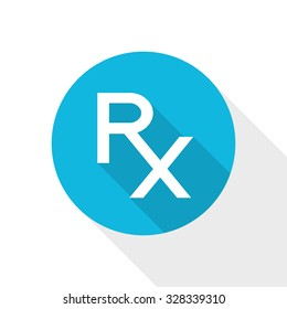 Rx sign as a prescription symbol. Pharmacy icon. Flat style vector design. Rx on blue background. Pharmacy symbol.