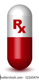 Rx Sign Red Capsule Pill