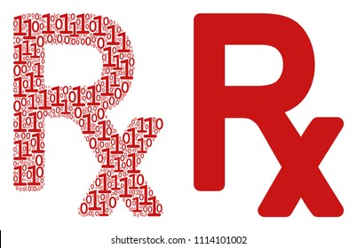 Rx symbol mosaic icon of zero and null digits in randomized sizes. Vector digits are united into Rx symbol illustration design concept.