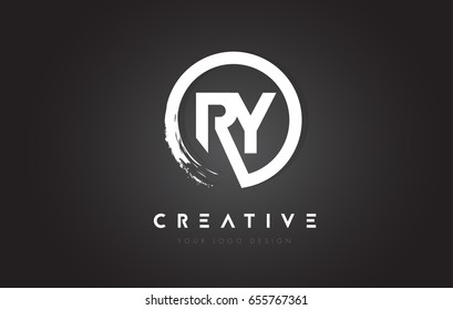 RY Circular Letter Logo with Circle Brush Design and Black Background.