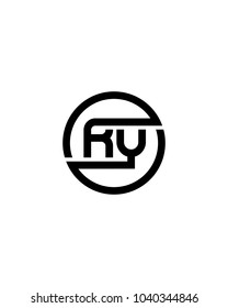RY initial circle logo template vector