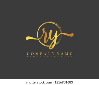 RY initial handwriting logo circle template vector