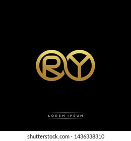 RY initial letter linked circle capital monogram logo modern template