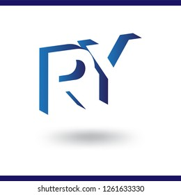 RY initial letter with negative space logo icon vector template