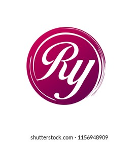 RY initial splash logo template vector