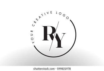 RY Letter Logo Design with Creative Intersected and Cutted Serif Font.