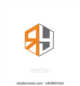 RY Logo Initial Monogram Negative Space Design Template With Grey and Orange Color - Vector EPS 10