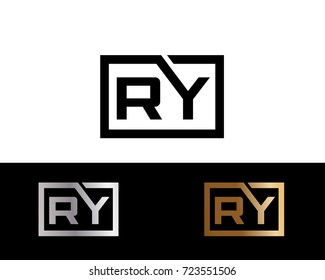 RY Logo. Letter Design Vector with Red and Black Gold Silver Colors