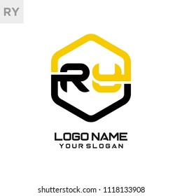 RY logo letter initial, Abstract polygonal Background Logo,