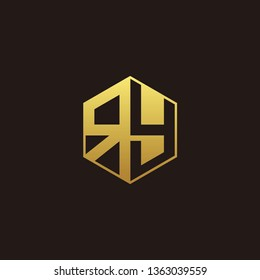 RY Logo Monogram with Negative space gold colors