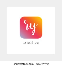RY logo, vector. Useful as branding, app icon, alphabet combination, clip-art.