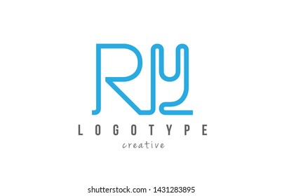 RY R Y blue joined line alphabet letter logo combination suitable as icon design for a company or business