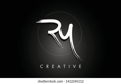 RY R Y Brushed Vector Letter Logo Design with Creative Modern Brush Lettering Texture and Hexagonal Shape. Brush Letters Design Logo Vector Illustration.