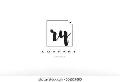 ry r y hand writing written black white alphabet company letter logo square background small lowercase design creative vector icon template