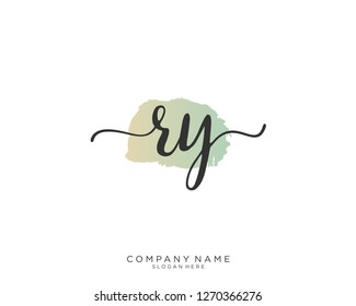 RY R Y Initial handwriting logo vector