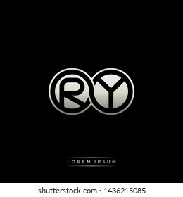 RY R Y initial letter linked circle capital monogram logo modern template silver color edition