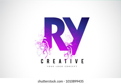 RY R Y Purple Letter Logo Design with Creative Liquid Effect Flowing Vector Illustration.