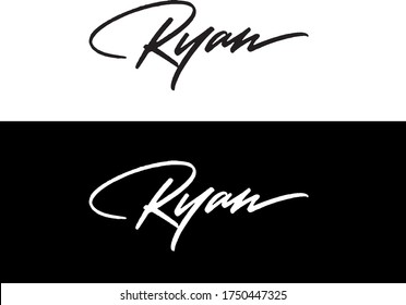 """Ryan"" custom calligraphic inscription, perfect for using as a signature logo, tattoo etc."