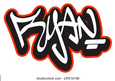 Ryan graffiti font style name. Hip-hop design template for t-shirt, sticker or badge