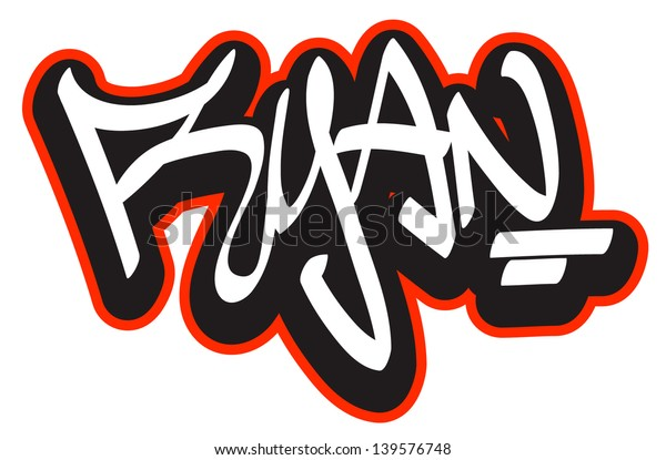 Ryan Graffiti Font Style Name Hiphop Stock Vector Royalty Free 139576748