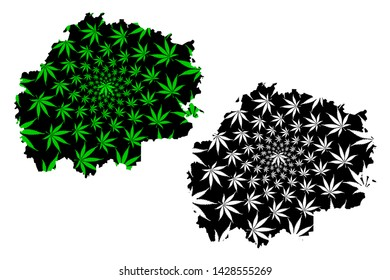 Ryazan Oblast (Russia, Subjects of the Russian Federation, Oblasts of Russia) map is designed cannabis leaf green and black, Ryazan Oblast map made of marijuana (marihuana,THC) foliage