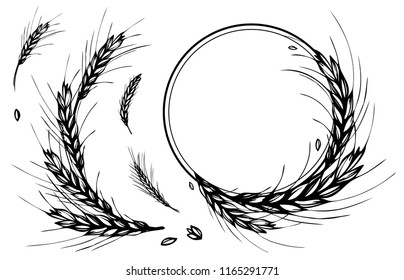 Rye, barley or wheat round frame or wreath on white background. Black and white hand drawn design for cooking, bakery, tags or labels