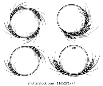 Rye, barley or wheat round frames on white background. Black and white hand drawn set design for cooking, bakery, tags or labels