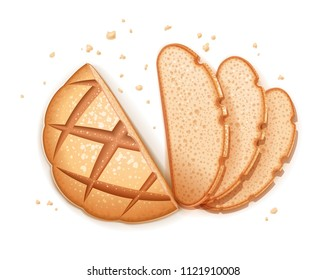 Rye round dark bread. Realistic loaf. Baking healthy food. Flour product for eating. Bake ration. Isolated white background. EPS10 vector illustration.