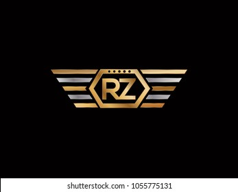 RZ initial box shape Logo designs template