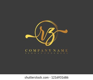 RZ initial handwriting logo circle template vector