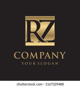 RZ initial letters looping linked box elegant logo golden black background
