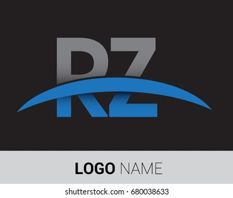 RZ initial logo company name colored grey and blue swoosh design.