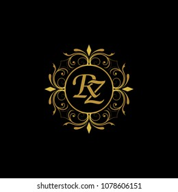 RZ Initial logo. Ornament ampersand monogram golden logo black background