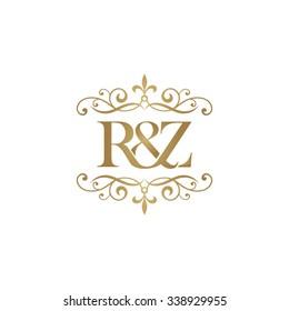 R&Z Initial logo. Ornament ampersand monogram golden logo