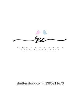 RZ initial signature logo. handwriting logo template vector,