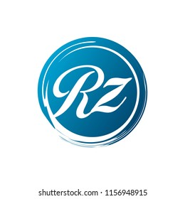 RZ initial splash logo template vector