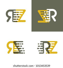 RZ letters logo with accent speed in brown and dark yellow