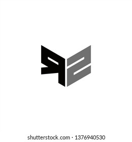 RZ Logo Letter Initial With Black and Grey Colors