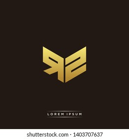 RZ Logo Letter Initial Logo Designs Templete with Gold and Black Background