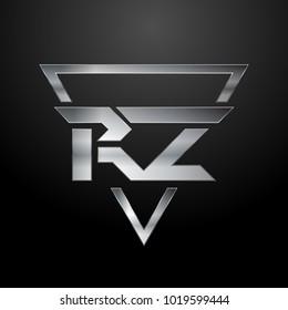 RZ Logo, Metal Logo, Silver Logo, Monogram, Polygon