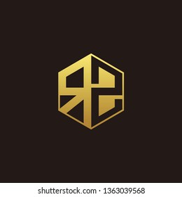 RZ Logo Monogram with Negative space gold colors