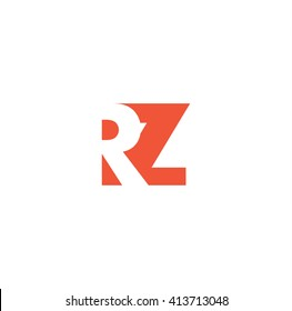 RZ Logo. Vector Graphic Branding Letter Element. White Background