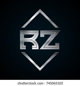 RZ Monogram, Metal Logo, Silver Logo