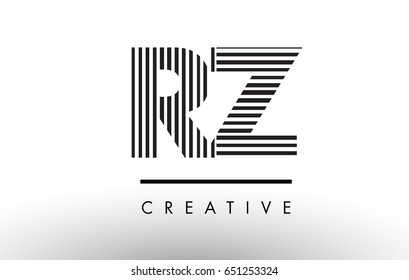 RZ R Z Black and White Letter Logo Design with Vertical and Horizontal Lines.