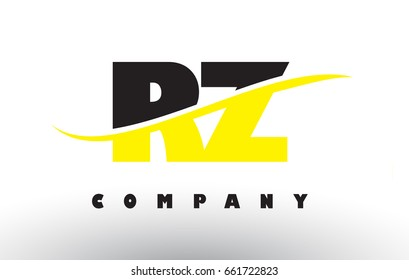 RZ R Z  Black and Yellow Letter Logo with White Swoosh and Curved Lines.