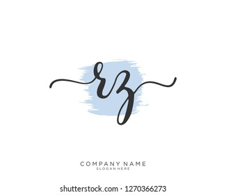 RZ R Z Initial handwriting logo vector
