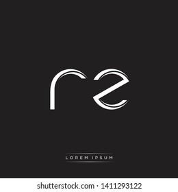 rz r z logo Initial Letter Split Lowercase Modern Isolated on Black White